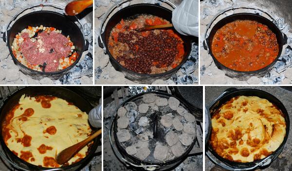 Dutch Oven Cornbread Chili Detail