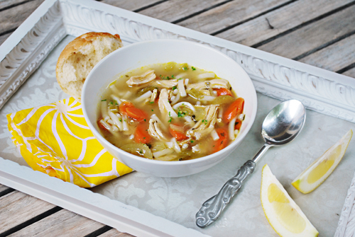 Lemon Recipes: Homemade Chicken Noodle Soup with Lemon