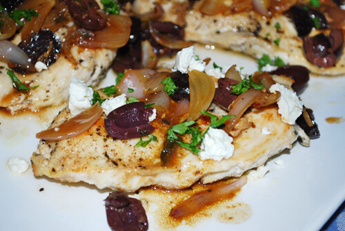Pan-Seared Chicken Breasts with Olives, Shallots & Feta - Family Spice