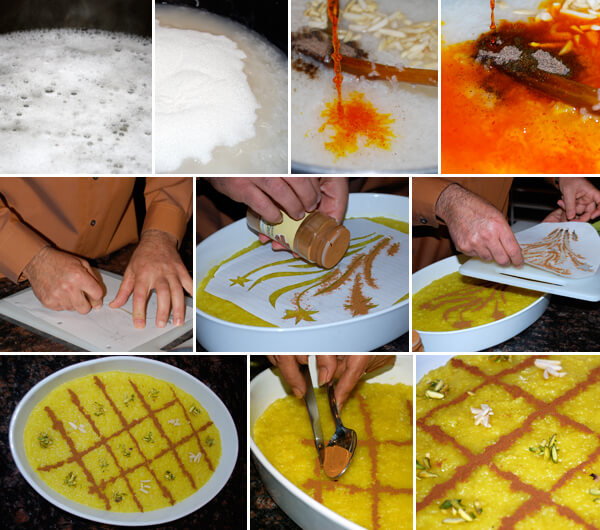 Persian Saffron Rice Pudding (Sholeh-Zard) Detail