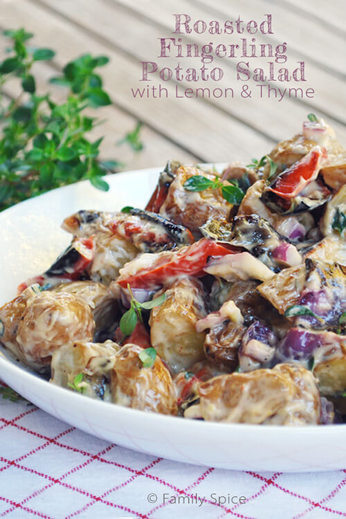 Roasted Fingerling Potato Salad with Lemon & Thyme by FamilySpice.com