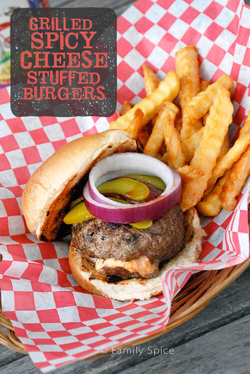 Grilled Spicy Cheese Stuffed Hamburgers by FamilySpice.com