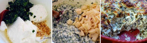 Garlicky Spinach Dip with Hearts of Palm Detail