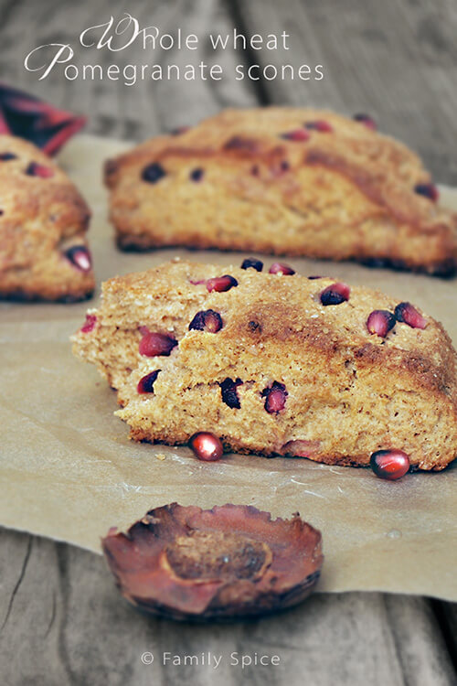 whole wheat pomegranate scones make those ruby red pomegranate seeds ...