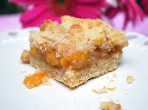 ... with any seasonal fruit click here for the recipe peach crumb bars