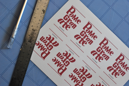 Labels for Pomegranate Vodka by FamilySpice.com