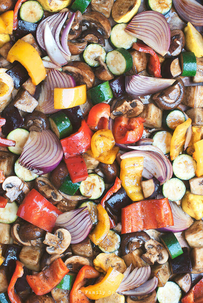Ready to roast vegetables for Balsamic Roasted Vegetable Quinoa Salad by FamilySpice.com