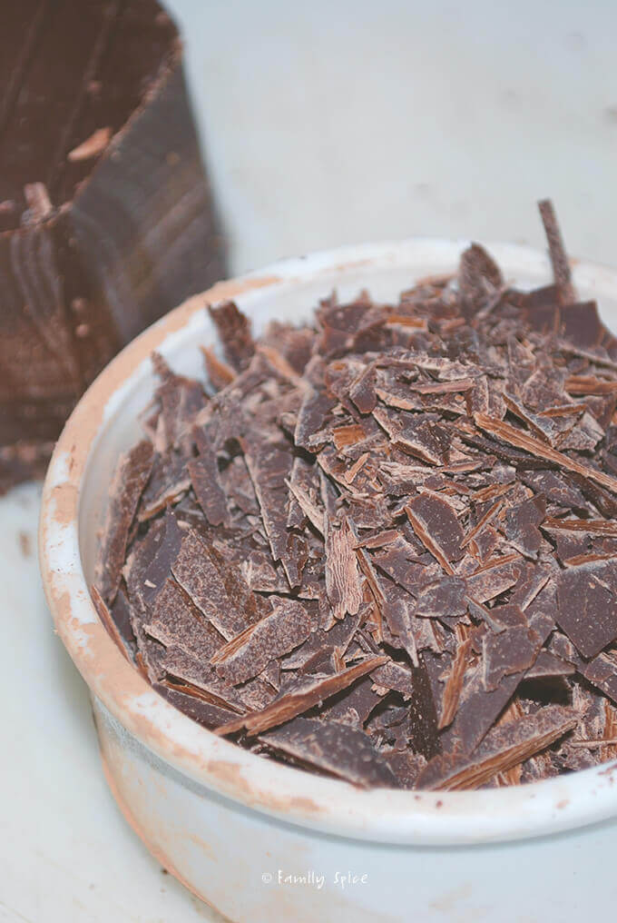 Shaved chocolate for Gluten Free Chocolate Chip Brownies by FamilySpice.com