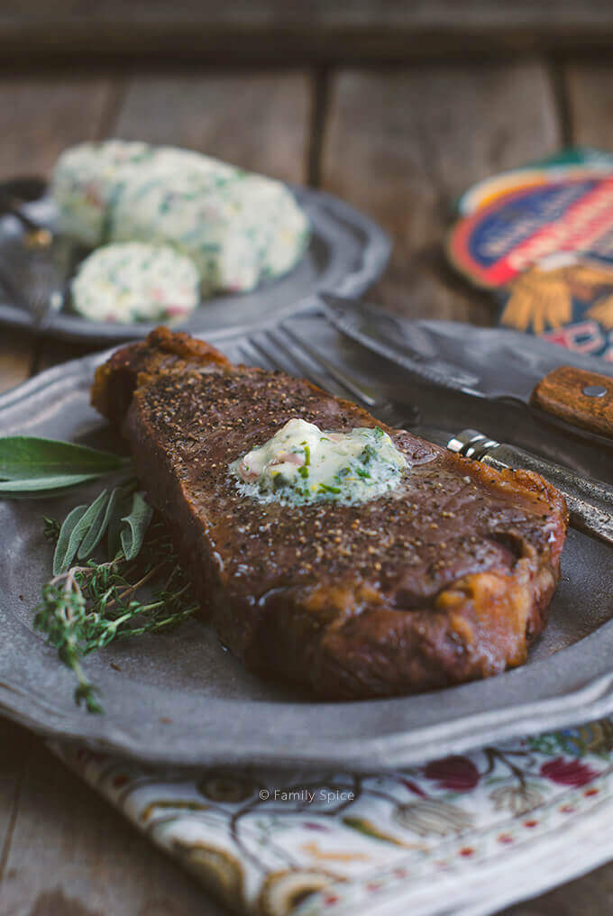 New York Strip Steak with Chive Compound Butter by FamilySpice.com