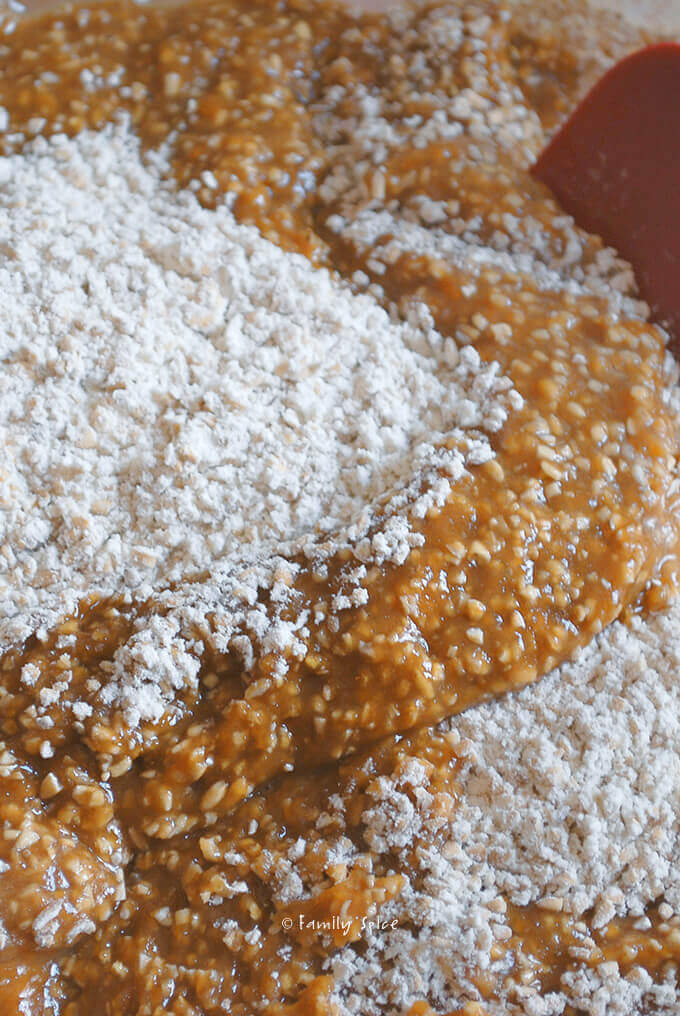 Mixing Up Oatmeal Butterscotch Bars by FamilySpice.com