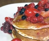 Buttermilk Pancakes With Berry Maple Syrup by FamilySpice.com