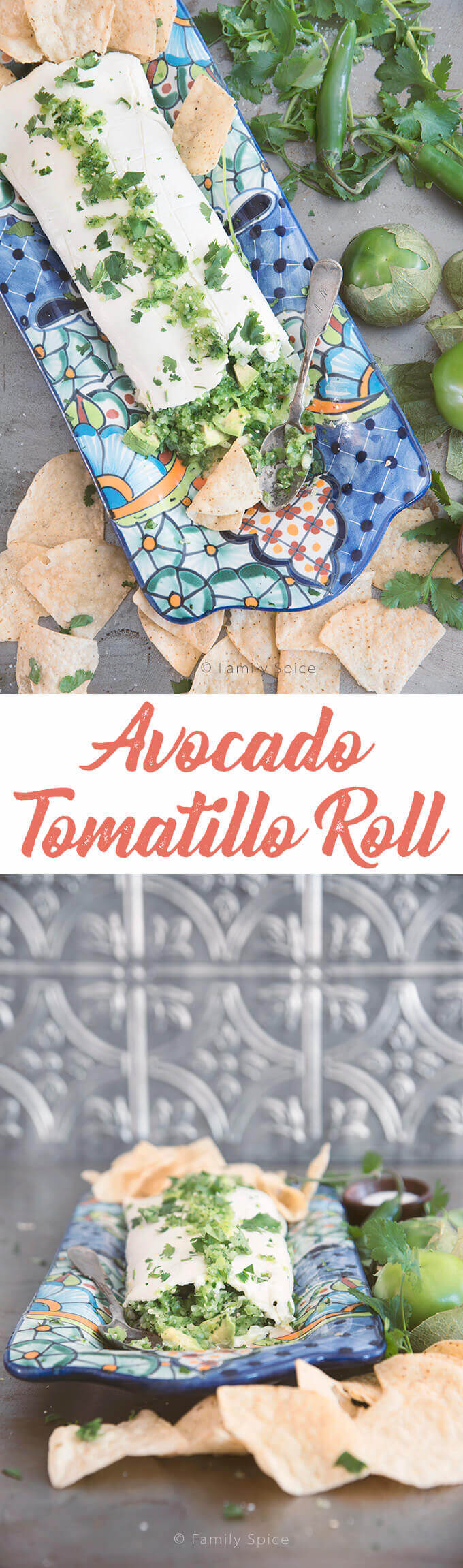 This Avocado Tomatillo Roll is a unique appetizer that is sure to wow your guests with creamy avocados, tangy tomatillos and spicy serrano peppers wrapped in a blanket of cream cheese. --- FamilySpice.com