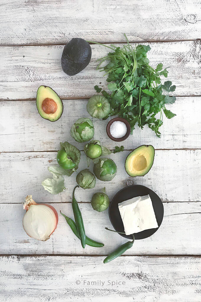Ingredients for The Avocado Tomatillo Roll by FamilySpice.com