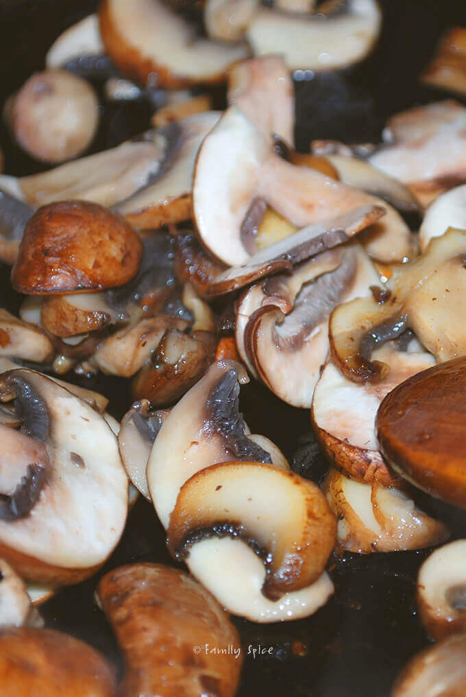 Mushrooms for Salisbury Steak with Purple Mashed Potatoes by FamilySpice.com