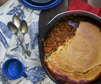 Perfect for Camping: Dutch Oven Cornbread Chili by FamilySpice.com