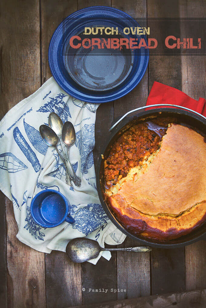 Dutch Oven Cornbread Chili by FamilySpice.com