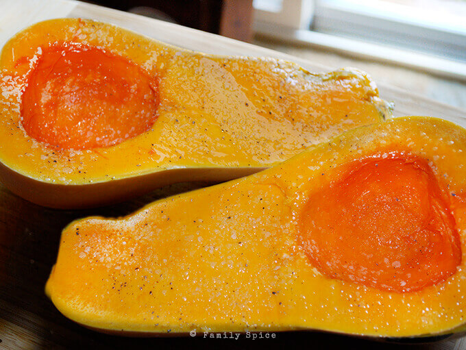 Ready to roast butternut squash by FamilySpice.com