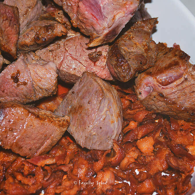 Browned stew meat and bacon for Beef Bourguignon on a Budget by FamilySpice.com