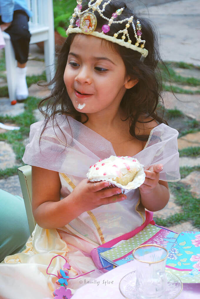 The birthday girl at her Princess Tea Party by FamilySpice.com