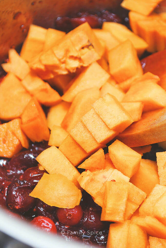 Making Cranberry Sauce with Persimmon and Brown Sugar by FamilySpice.com