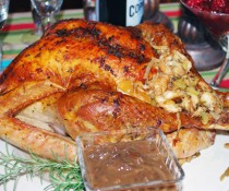 Roast Turkey with Herb Butter and Caramelized Onion-Balsamic Gravy by FamilySpice.com