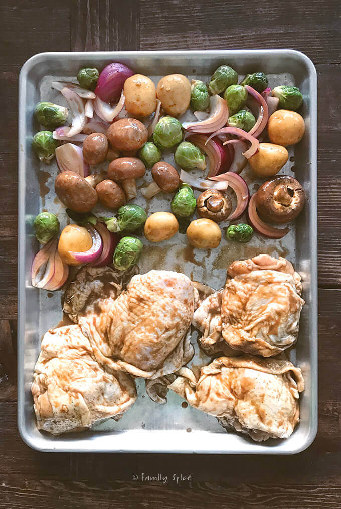 Ready to Bake Sheet Pan Balsamic Chicken with Vegetables by FamilySpice.com