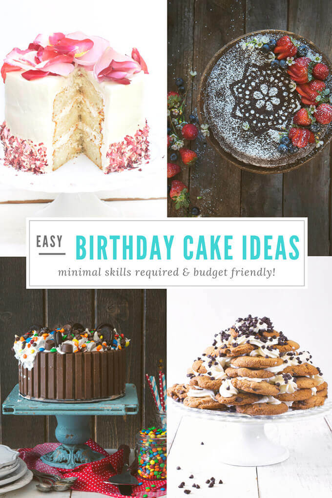Easy birthday cake ideas requiring minimal skills very skills and budget friendly by FamilySpice.com