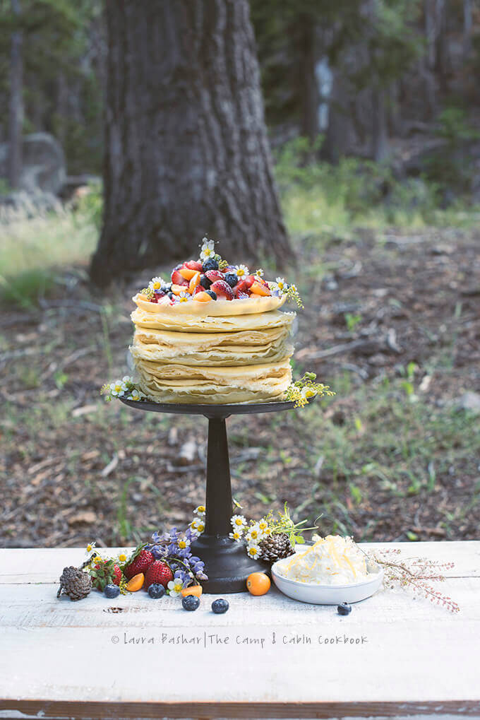 Crepe Cake by Laura Bashar from the The Camp & Cabin Cookbook (Countryman 2018) -- FamilySpice.com