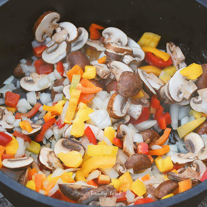 Peppers, onions and mushrooms for Chicken Cacciatore by FamilySpice.com