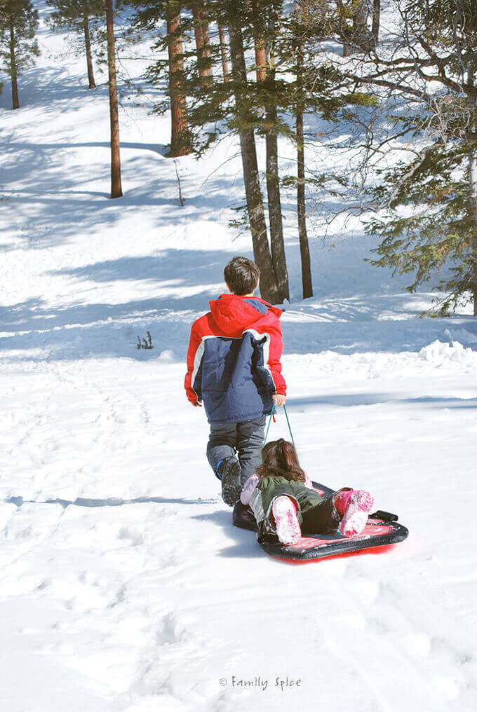 My boy pulling his sister in a sled up the snowy hill by FamilySpice.com