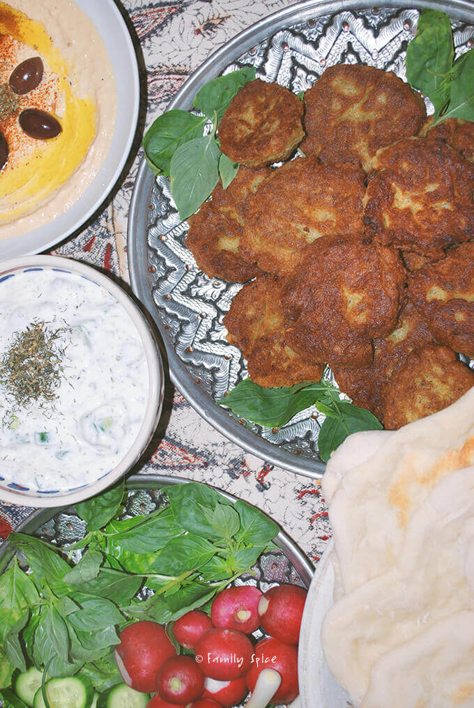 Persian Appetizer Mezze: Hummus, Yogurt, Herbs, Radishes, Cutlet and Pita by FamilySpice.com