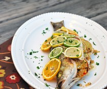 Citrus Striped Bass Stuffed with Quinoa by FamilySpice.com