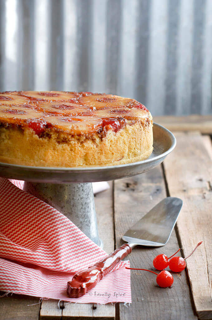 Campfire Dutch Oven Pineapple Upside Down Cake by FamilySpice.com