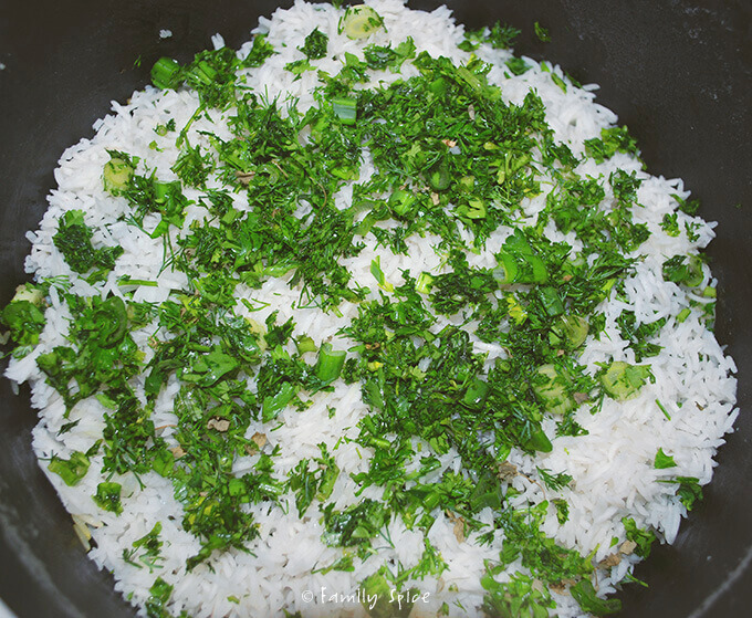 Assembling Persian Herbed Rice (Sabzi Polo) by FamilySpice.com