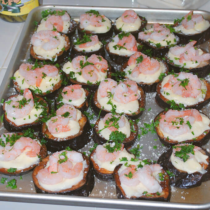 Ready to Bake Eggplant and Shrimp Tapas with Manchego Cheese by FamilySpice.com