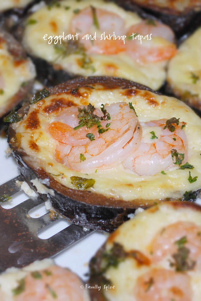 Eggplant and Shrimp Tapas with Manchego Cheese by FamilySpice.com