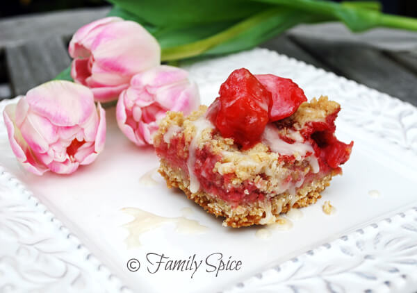 Strawberry-Rhubarb Bars with Ginger Icing