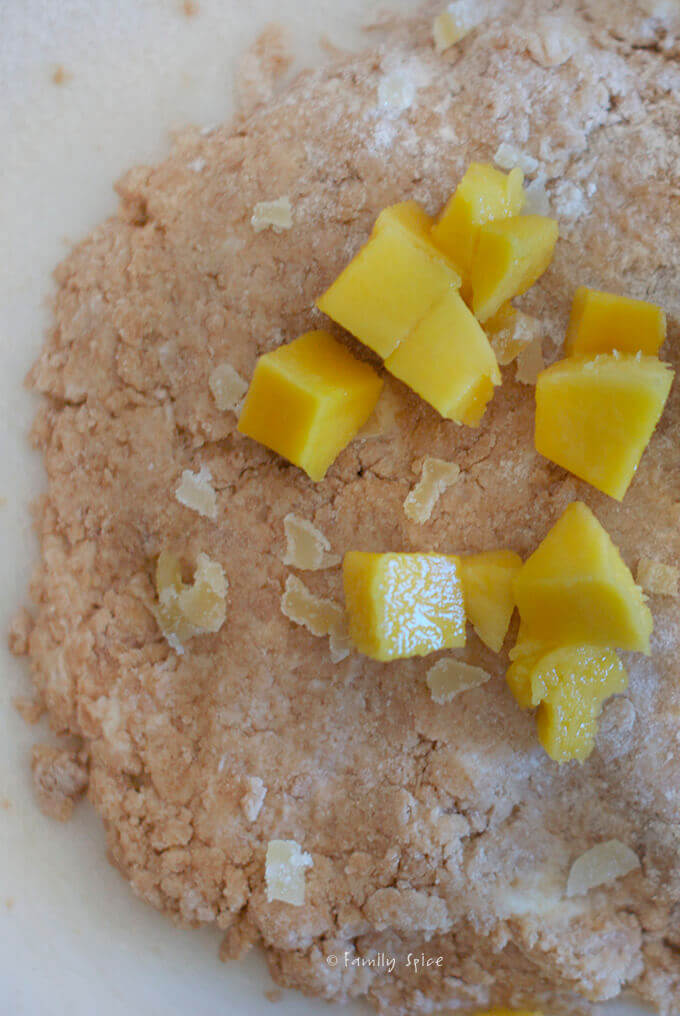 Assembling Nutrition Maximized with Whole Wheat Mango Scones with Ginger by FamilySpice.com