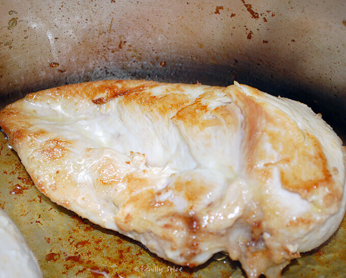 Browning Chicken Breast for Chicken Noodle Soup with Lemon by FamilySpice.com