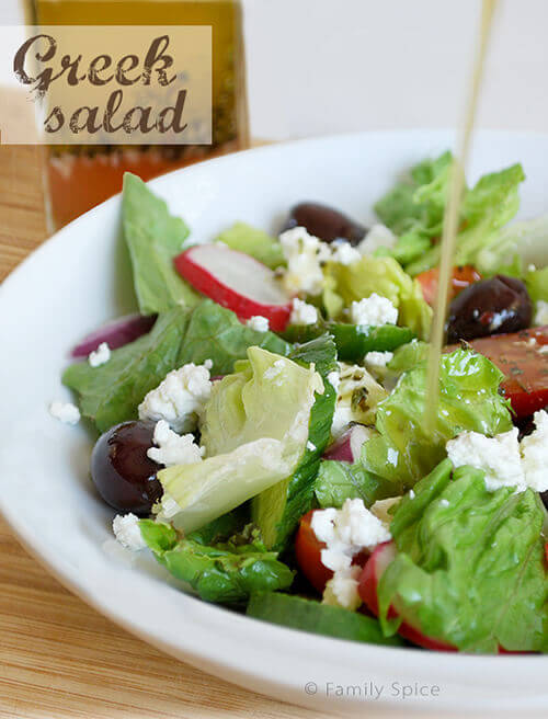 Easy Peasy Greek Salad and Vinaigrette by FamilySpice.com