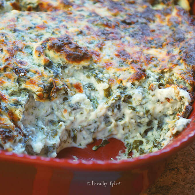 Garlic Spinach Dip with Hearts of Palm by FamilySpice.com