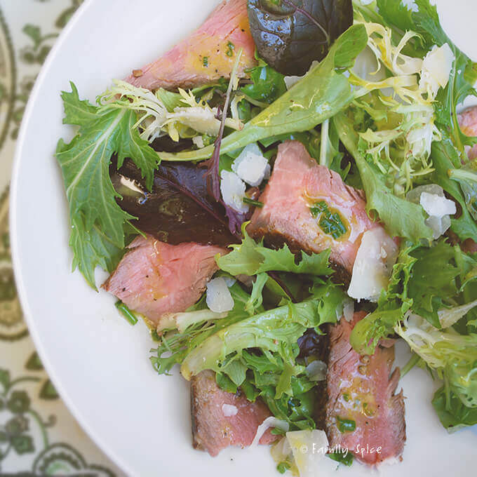 Steak Salad with Parmesan and Dijon Vinaigrette by FamilySpice.com
