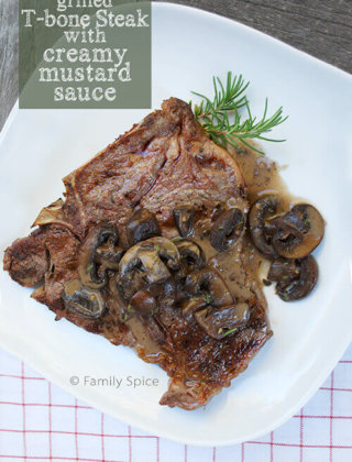 Grilled T-Bone with Creamy Mushroom Sauce