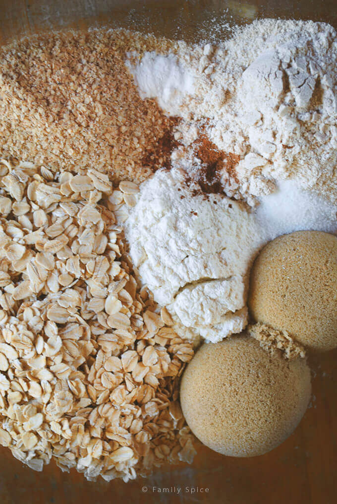 Dry Ingredients for Low Fat Oatmeal Banana Muffins by FamilySpice.com