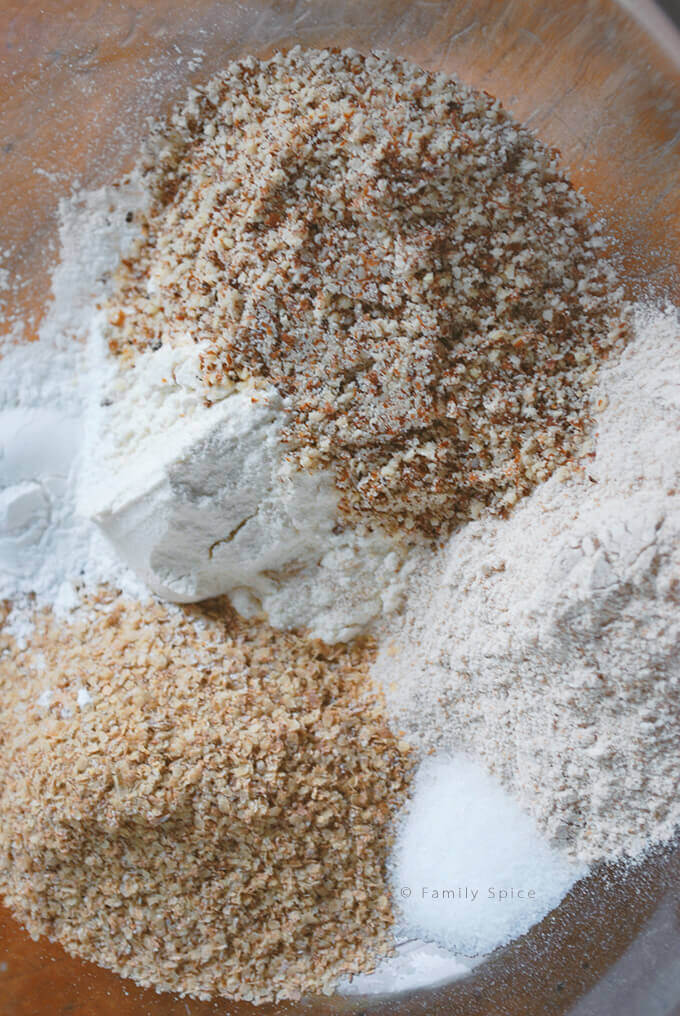 Dry Ingredients for Banana Chocolate Chip Whole Wheat Pancakes by FamilySpice.com