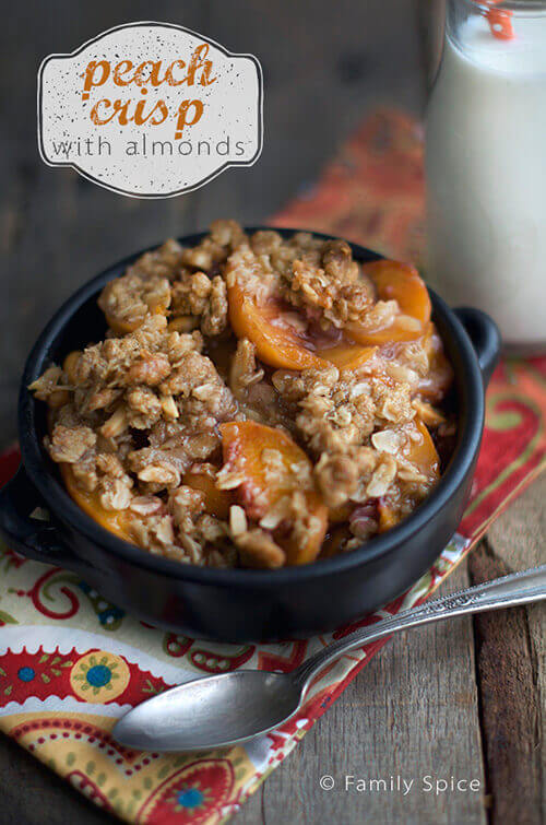 Peach Crisp with Almonds and More Peach Recipes by FamilySpice.com
