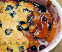 Peach and Blueberry Cobbler by FamilySpice.com