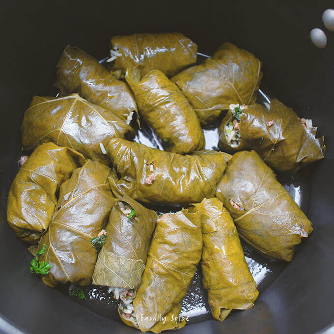 Ready to steam Persian Stuffed Grape Leaves: Beef and Pomegranate Dolmeh by FamilySpice.com