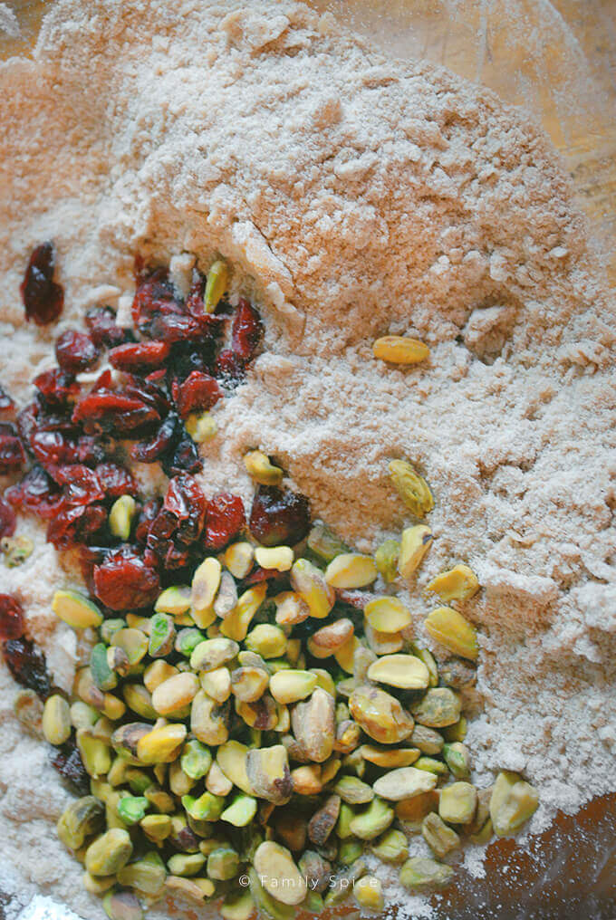 Mixing up Whole Wheat Pumpkin Scones with Cranberries and Pistachios by FamilySpice.com