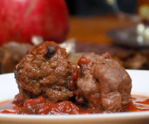 Lamb Meatballs with Tomato Pomegranate Sauce by FamilySpice.com